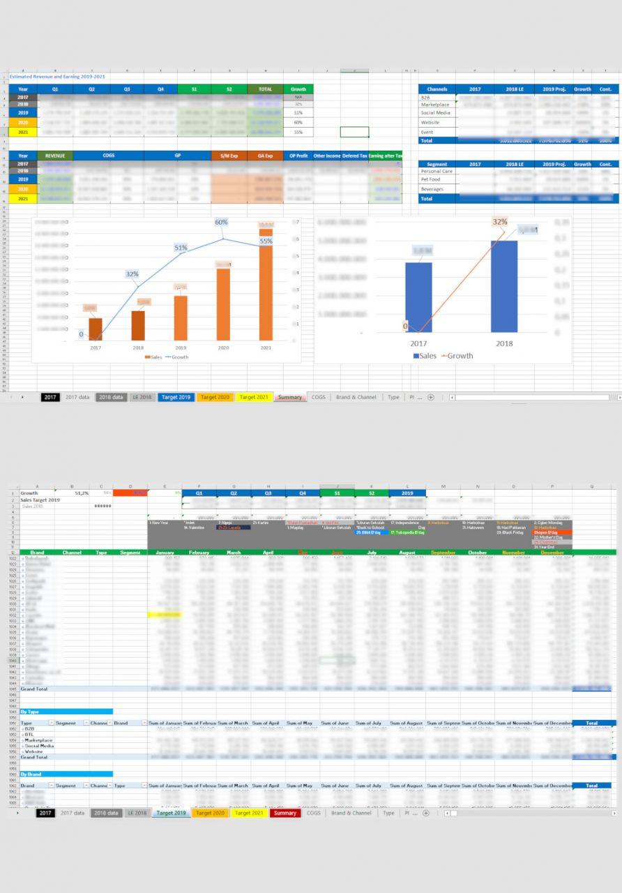 Excel - 3 Years Sales Plan/Target