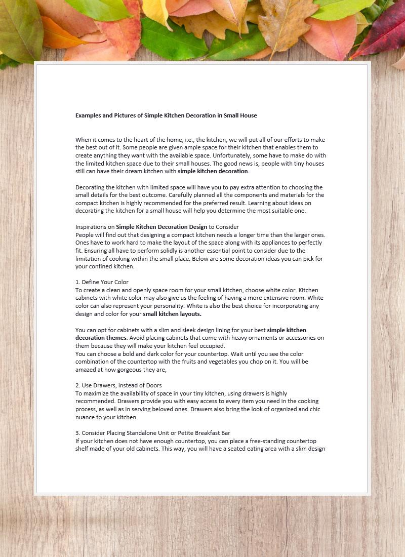 Penulisan Artikel Bahasa Inggris-Kitchen Decoration