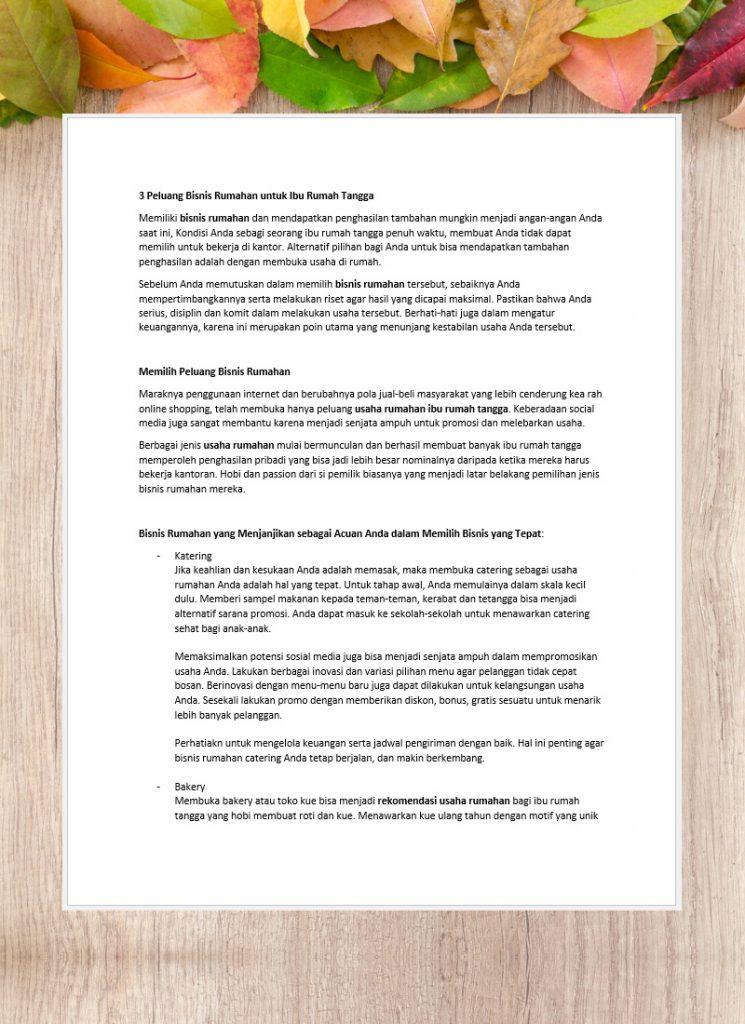 Penulisan Artikel Bahasa Indonesia-Bisnis Rumahan